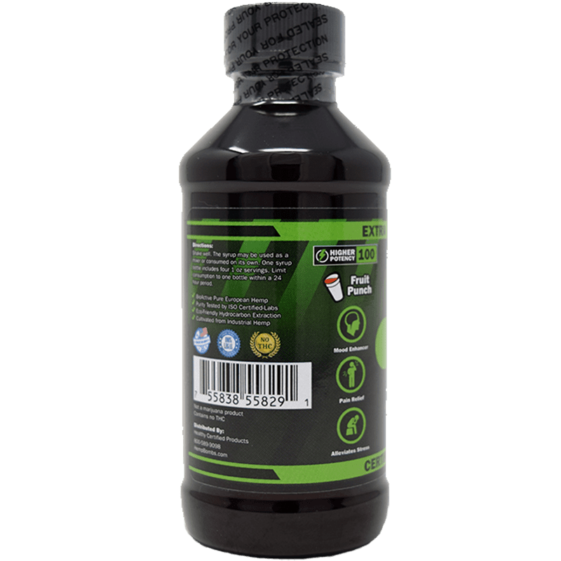 100mg cbd syrup - left side of label