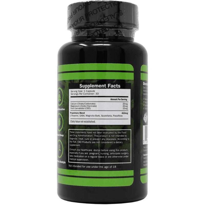 30-count cbd capsules- back of label