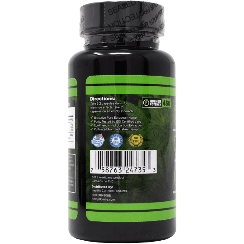 30-count cbd capsules - back of bottle