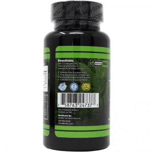 60-count cbd capsules - back of label