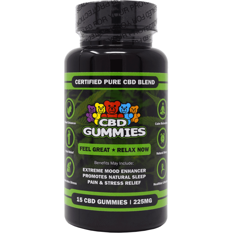 15-count cbd gummies hemp bombs - front of bottle