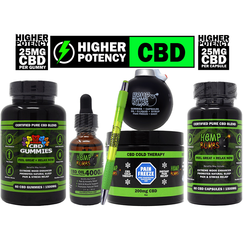 hemp bombs cbd high potency bundle including: capsules, gummies, oil, pain freeze, pen, and stress ball bomb