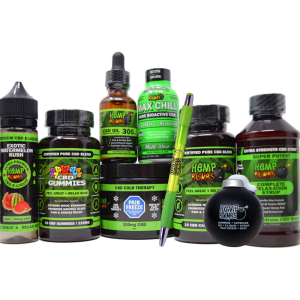hemp bombs cbd premium bundle including: capsules, gummies, e-liquid, syrup, pain freeze, max chill shot, pen and stress ball bomb