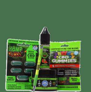 hemp bombs cbd sample bundle including: capsules, gummies, e-liquid, pain freeze and pen