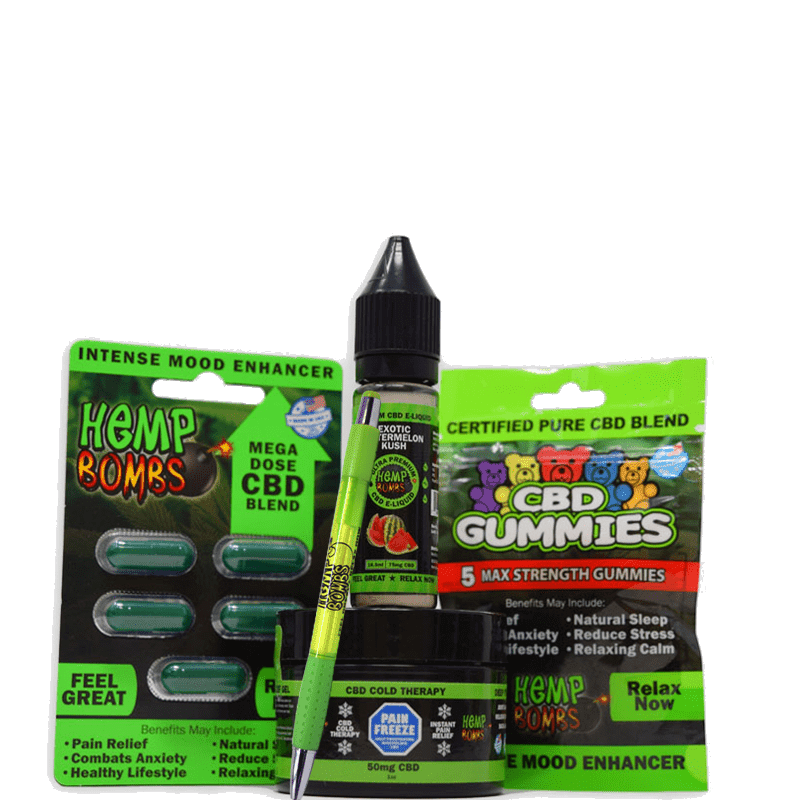 hemp bombs cbd sample bundle including: capsules, gummies, e-liquid, pain freeze and pen
