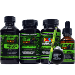 hemp bombs cbd edibles bundle inclduing: syrup, capsules, gummies, oil, pen, and stress ball bomb