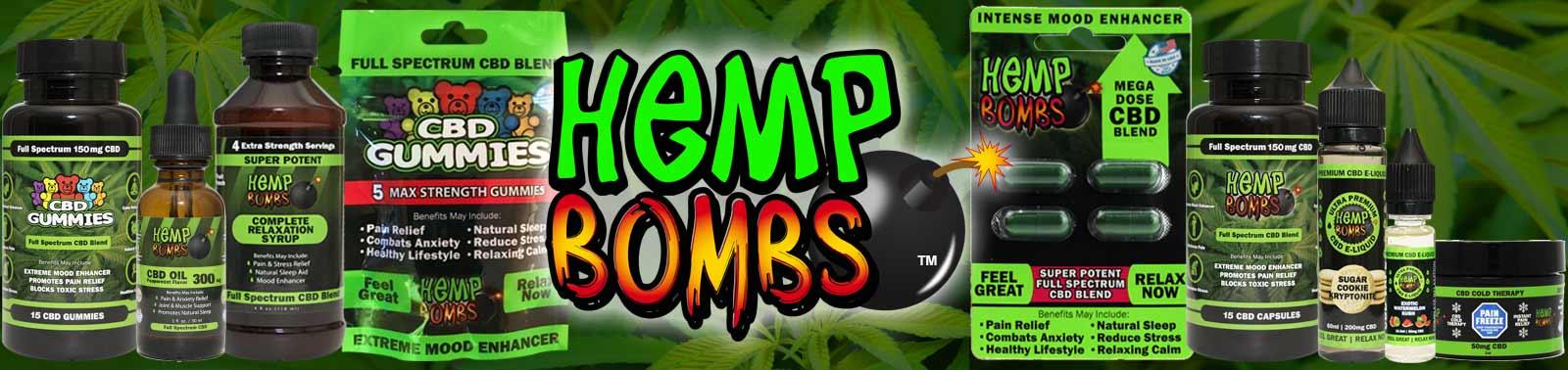 Premium CBD products from Hemp Bombs including CBD Gummies, CBD Oil, CBD Syrup, Capsules, Vape and Pain Rub