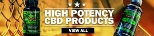 High potency cbd products banner | chain-link fence background with cbd syrup