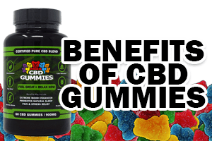 "Graphic says ""Benefits of CBD Gummies"" in bold text next to a bottle of Hemp Bombs CBD Gummies. Multiple gummies are positioned next to the bottle."
