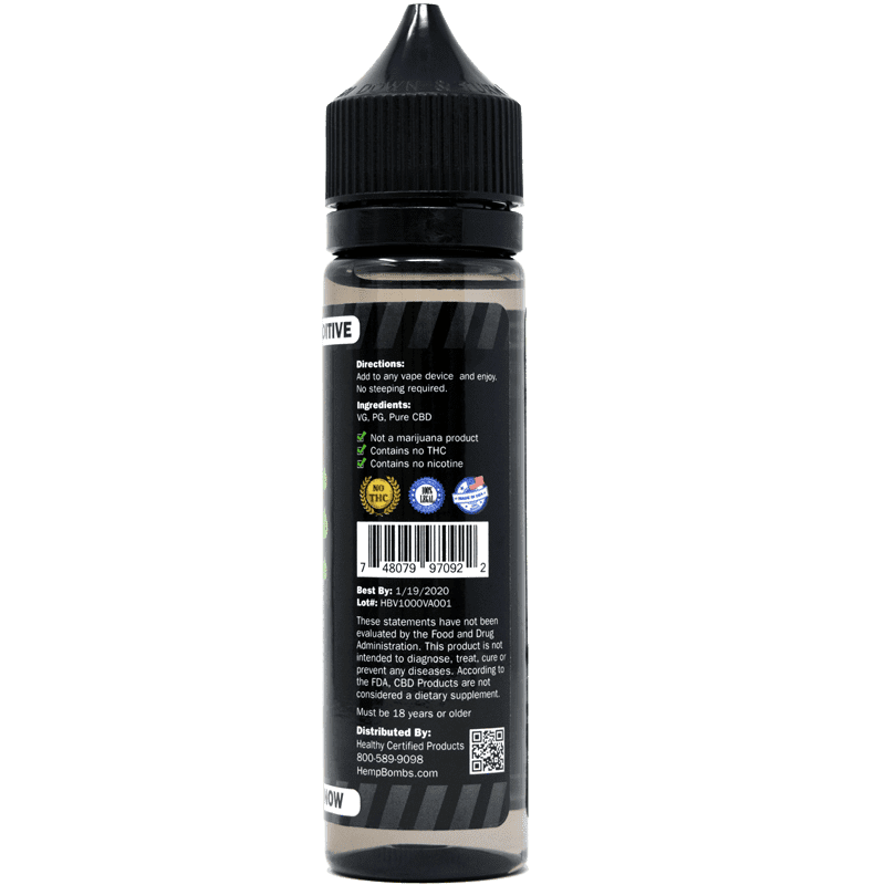 1000mg cbd e-liquid additive - back label