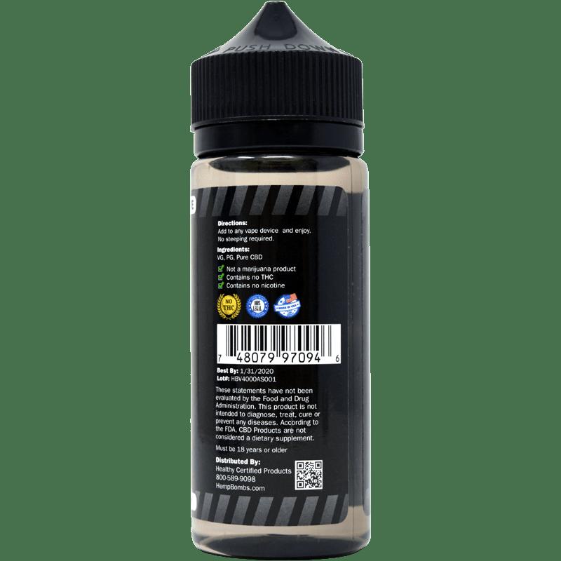 cbd e-liquid additive - back of label