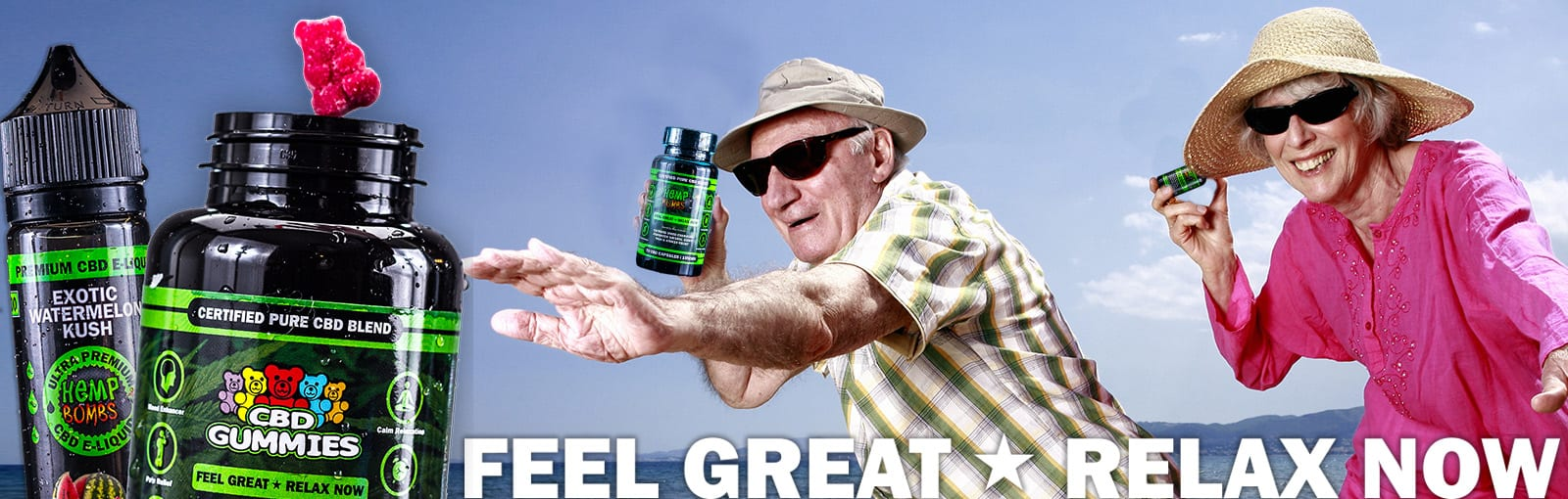 Senior Citizens on the beach holding Hemp Bombs products
