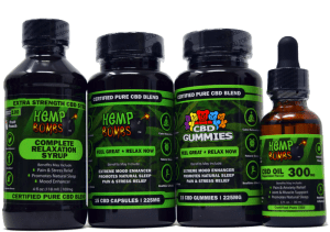 hemp bombs cbd edibles bundle including: syrup, gummies, capsules, and oil