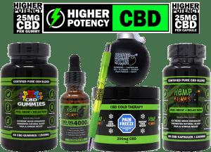 hemp bombs cbd high potency bundle including: capsules, gummies, oil, pain freeze, pen, and stress ball bomb