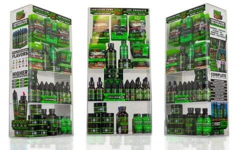 Hemp bombs box displays of various products