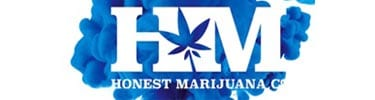 honest marijuana company logo in blue smoke