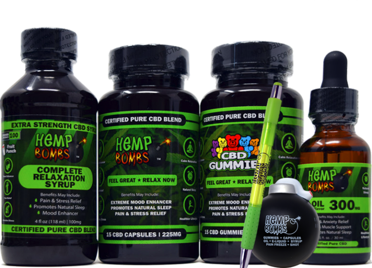 hemp bombs edibles cbd bundle including capsules, gummies, oil, syrup, oil, pen and stress ball