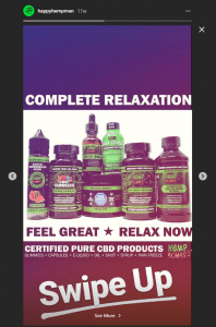 Instagram story post featuring hemp bombs various products