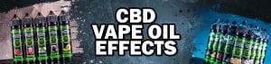 """gray banner with hemp bombs e liquids and text """"cbd vape oil effects"""""""