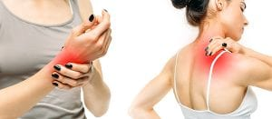 Dual image of woman rubbing wrist and back due to arthritis