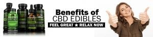 Smiling woman with thumbs up promoting benefits of CBD edibles: Gummies, Syrup, Capsules, Oil, Chill Shot