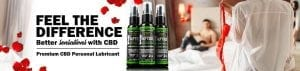 cbd lube banner couple and bed in background