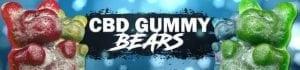 "Hemp Bombs CBD Gummy shown in green, yellow and red. Text says, ""CBD Gummy Bears."""