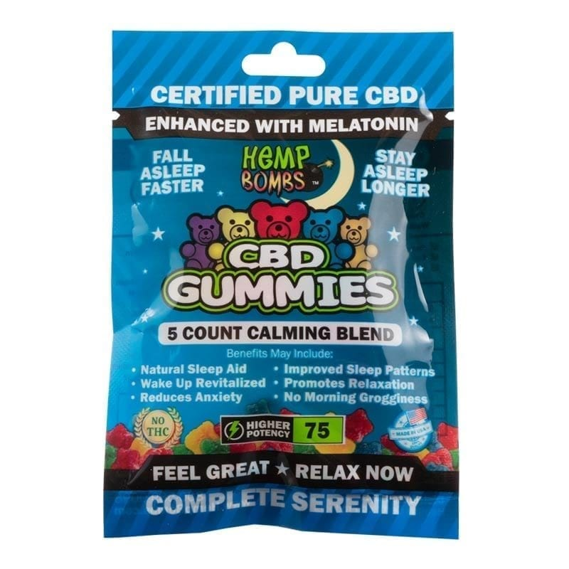 5-count CBD Sleep Gummies from Hemp Bombs -- front view
