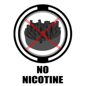 No Nicotine icon- tobacco X'd out graphic