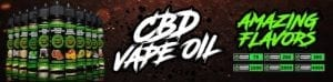 "bottles of hemp bombs vape oil ranging in potency from 75 milligrams to 4000 milligrams on a dark background. photo reads ""CBD Vape Oil -- Amazing Flavors"""