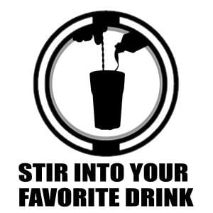 """icon says """"stir into your favorite drink"""" with a silhouette of someone stirring liquid into a cup"""