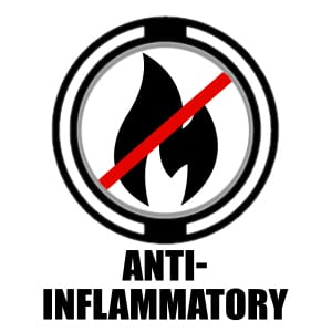 "Circle icon with a small flame crossed out and ""anti-inflammatory"" underneath"