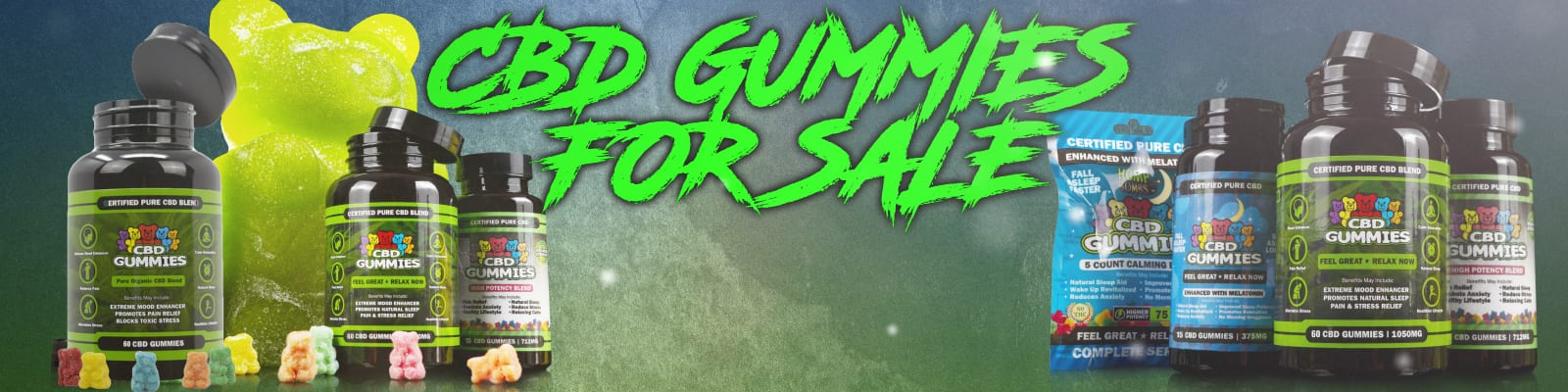 """hemp bombs cbd gummies on a green background with text that says, """"cbd gummies for sale"""""""