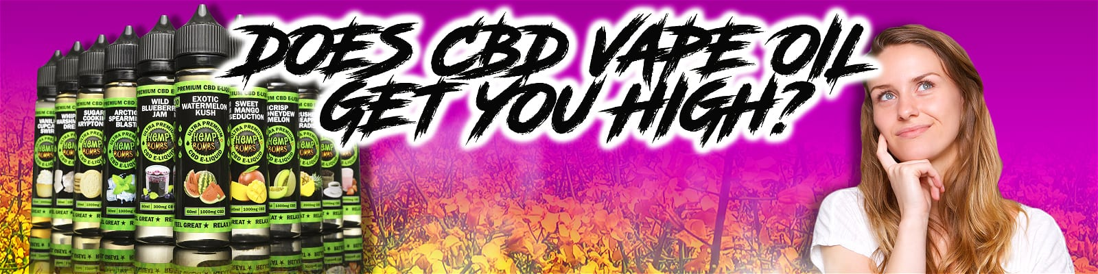 Does CBD Vape Oil Get you High on a pink background with a multi-pack of Hemp Bombs E-liquid and an inquisitive girl