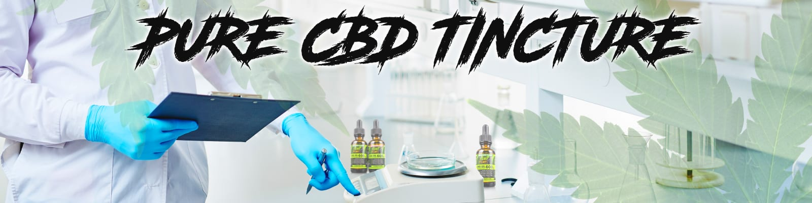 Pure CBD Tincture in a lab setting with a researcher pointing at a scale and three bottles of Pure CBD Tincture