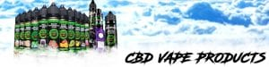 CBD vape products from Hemp Bombs with clouds in the background